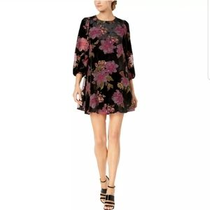 Calvin Klein Black Velvet Floral Party Dress 8